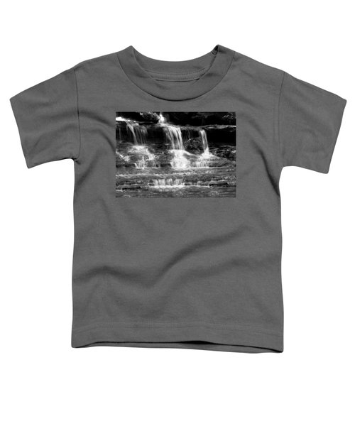 Waterfall Trio At Mcconnells Mill State Park In Black And White Toddler T-Shirt