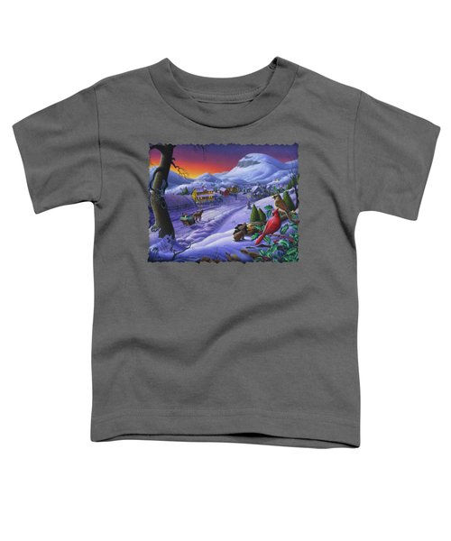 Christmas Sleigh Ride Winter Landscape Oil Painting - Cardinals Country Farm - Small Town Folk Art Toddler T-Shirt