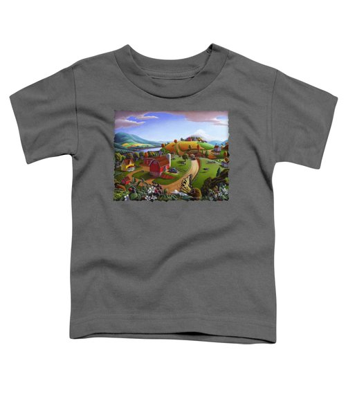 Folk Art Blackberry Patch Rural Country Farm Landscape Painting - Blackberries Rustic Americana Toddler T-Shirt