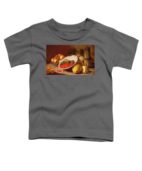 Still Life Of Raspberries Lemons And Asparagus  Toddler T-Shirt by Italian School