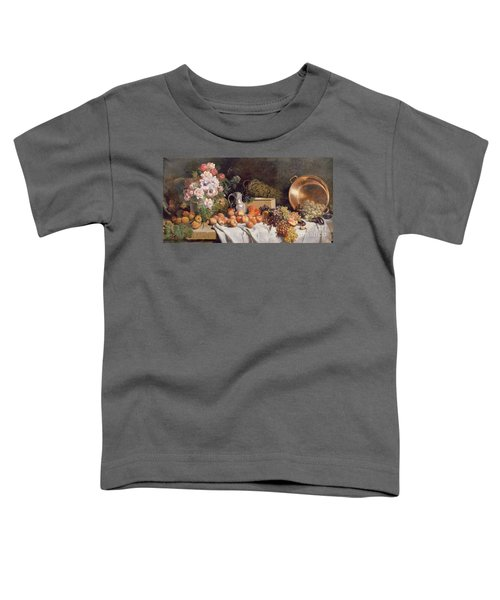 Still Life With Flowers And Fruit On A Table Toddler T-Shirt