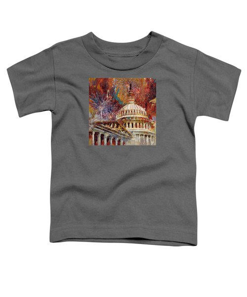 070 United States Capitol Building - Us Independence Day Celebration Fireworks Toddler T-Shirt by Maryam Mughal