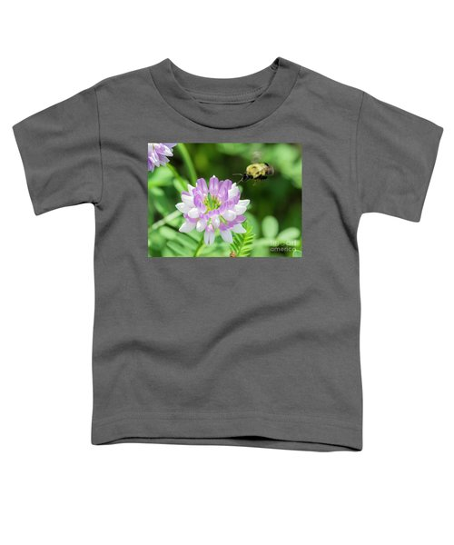 Bumble Bee Pollinating A Flower Toddler T-Shirt by Ricky L Jones