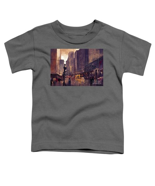 Toddler T-Shirt featuring the painting City Street by Tithi Luadthong