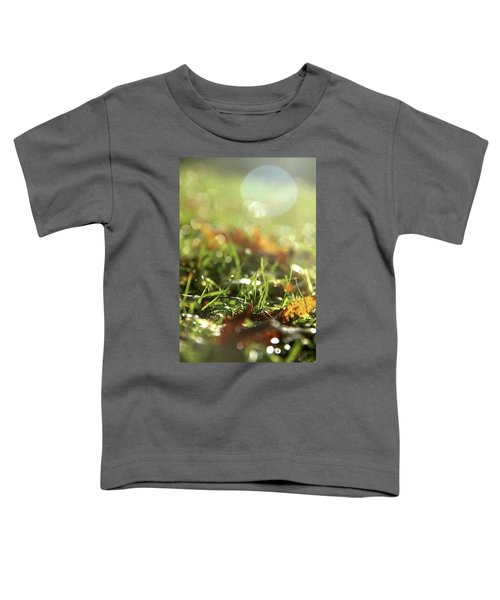 Close-up Of Dry Leaves On Grass, In A Sunny, Humid Autumn Morning Toddler T-Shirt