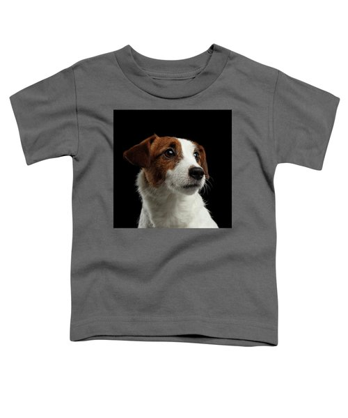 Closeup Portrait Of Jack Russell Terrier Dog On Black Toddler T-Shirt