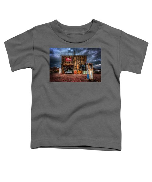 Nelson Nevada, Weathered Garage, Car, And Gas Pump Toddler T-Shirt