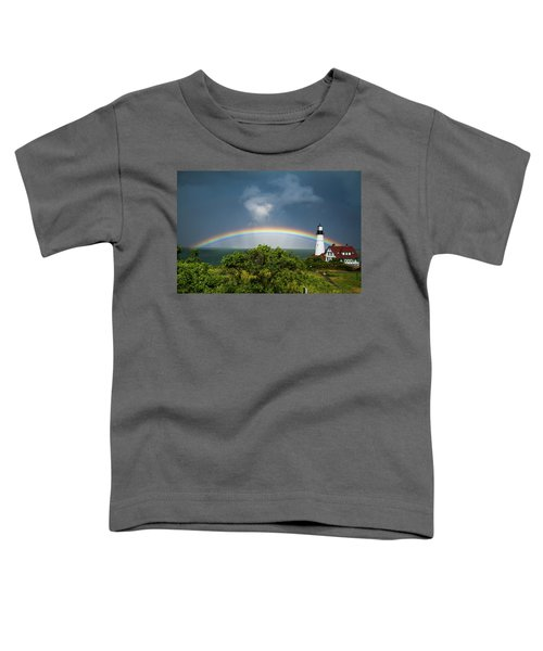 Rainbow At Portland Headlight Toddler T-Shirt