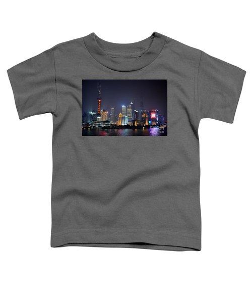Shanghai China Skyline At Night From Bund Toddler T-Shirt
