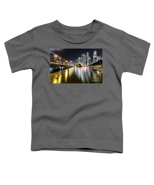 Singapore River At Night With Financial District In Singapore Toddler T-Shirt