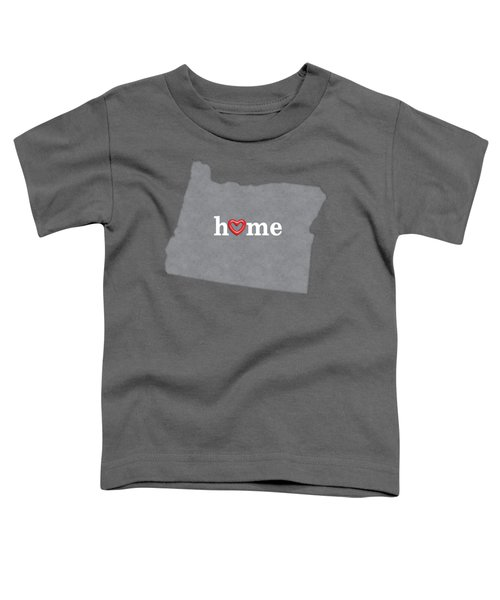 State Map Outline Oregon With Heart In Home Toddler T-Shirt by Elaine Plesser