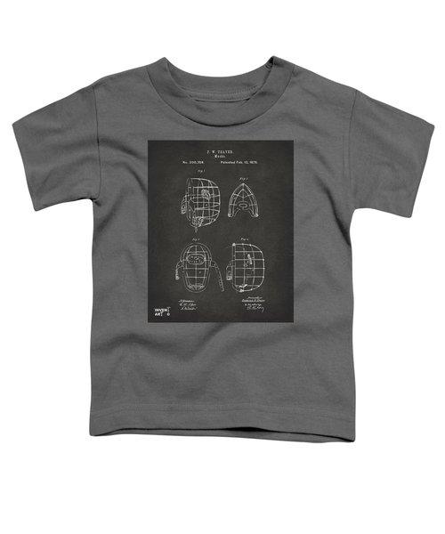1878 Baseball Catchers Mask Patent - Gray Toddler T-Shirt