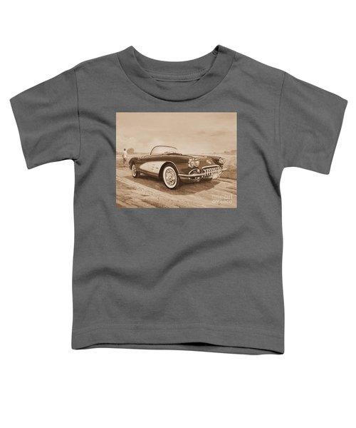 1959 Chevrolet Corvette Cabriollet In Sepia Toddler T-Shirt