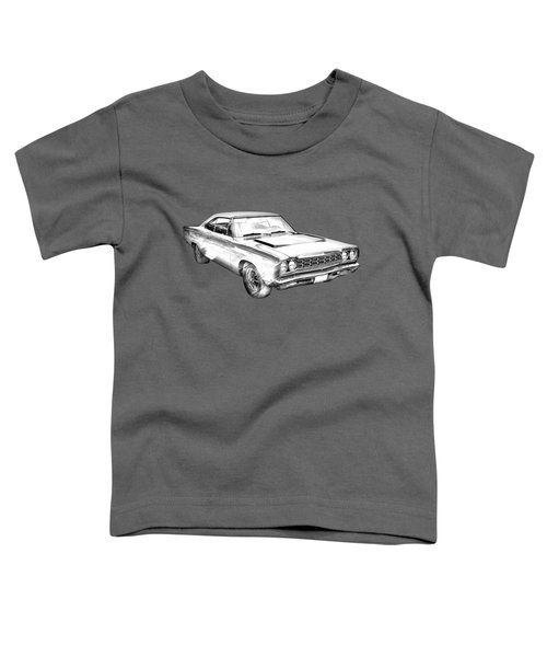 1968 Plymouth Roadrunner Muscle Car Illustration Toddler T-Shirt