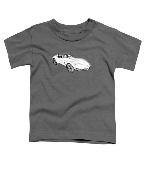 1975 Corvette Stingray Sports Car Illustration Toddler T-Shirt