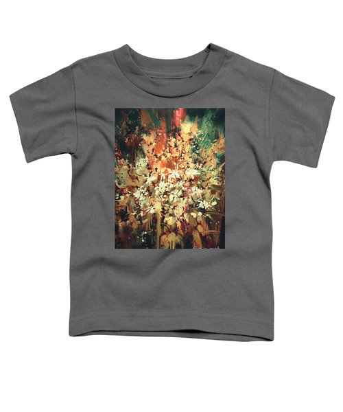 Toddler T-Shirt featuring the painting Abstract Flowers by Tithi Luadthong