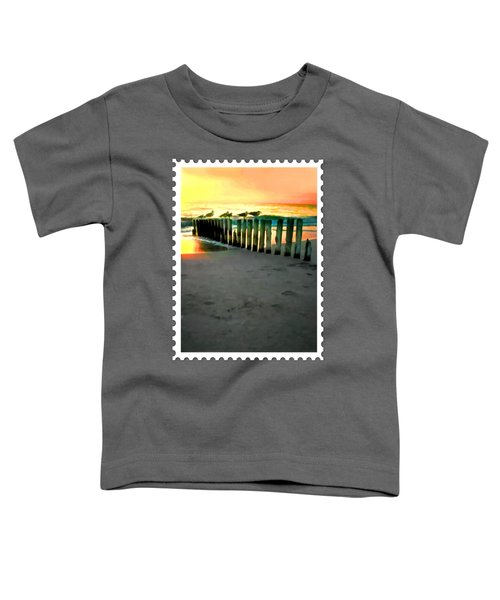 Sea Gulls On Pilings  At Sunset Toddler T-Shirt