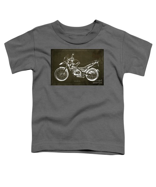 2010 Bmw G650gs Vintage Blueprint Brown Background Toddler T-Shirt
