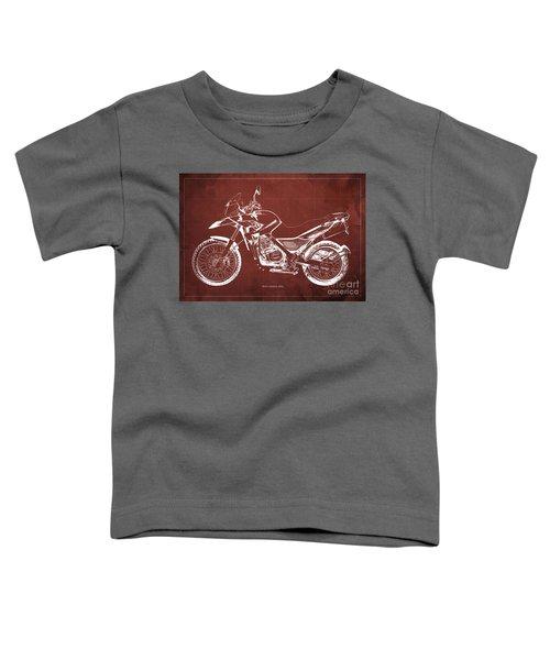 2010 Bmw G650gs Vintage Blueprint Red Background Toddler T-Shirt