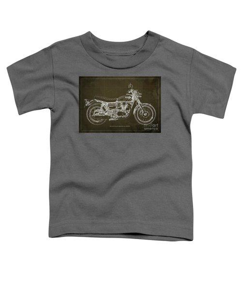 2016 Kawasaki W800 Speciaol Edition Blueprint Brown Background Toddler T-Shirt