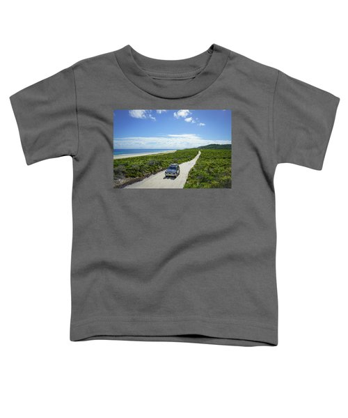 4wd Car Exploring Remote Track On Sand Island Toddler T-Shirt