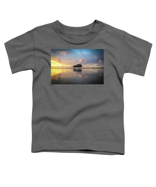 4wd Vehicle And Stunning Sunset Reflections On Beach Toddler T-Shirt