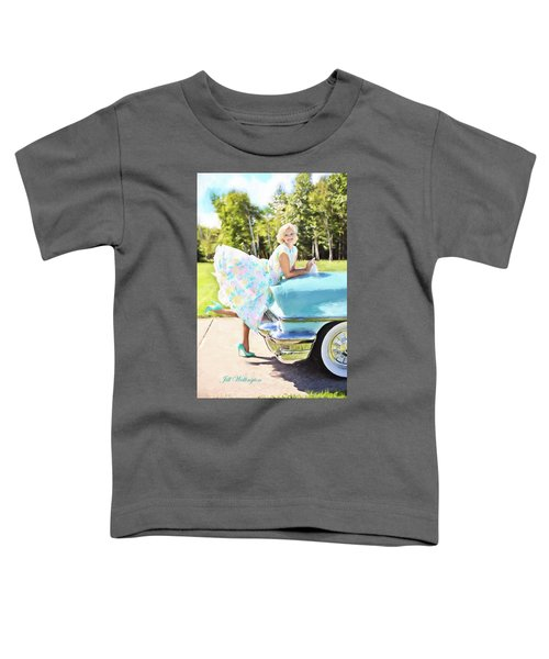 Vintage Val In The Turquoise Vintage Car Toddler T-Shirt