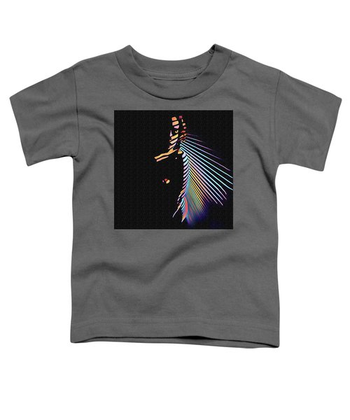 6580s-nlj Woman In Shadows By Window Zebra Striped Rendered In Composition Style Toddler T-Shirt