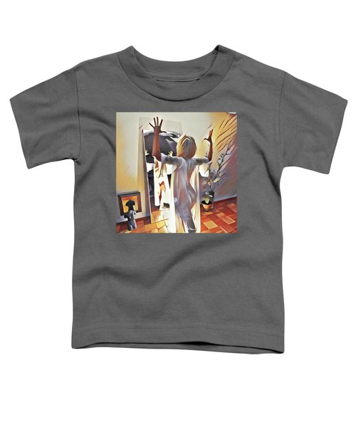 9906s-dm Woman Confronts Herself In Mirror Toddler T-Shirt