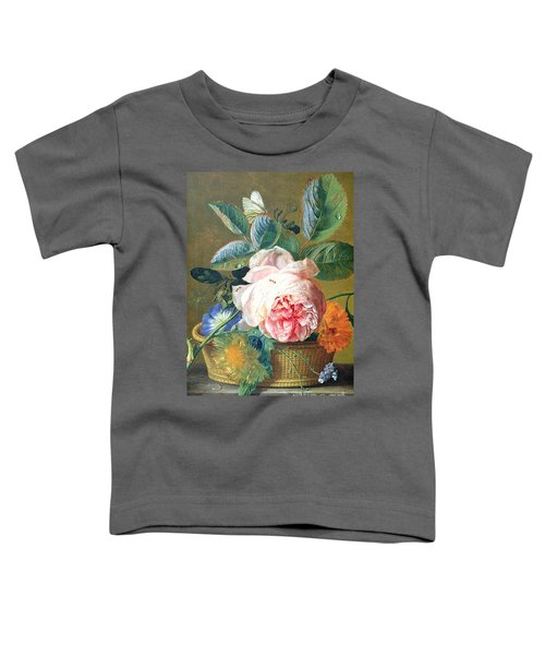 A Basket With Flowers Toddler T-Shirt by Jan van Huysum