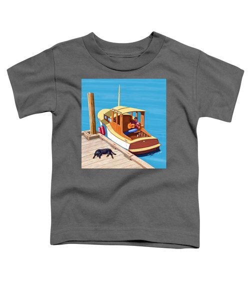 A Man, A Dog And An Old Boat Toddler T-Shirt