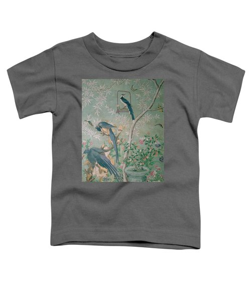A Pair Of Magpie Jays  Vintage Wallpaper Toddler T-Shirt by John James Audubon