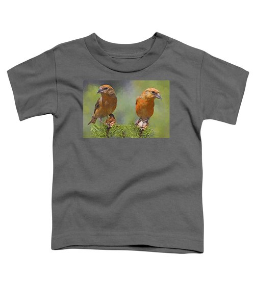 A Pair Of Male Red Crossbills - Painted Toddler T-Shirt