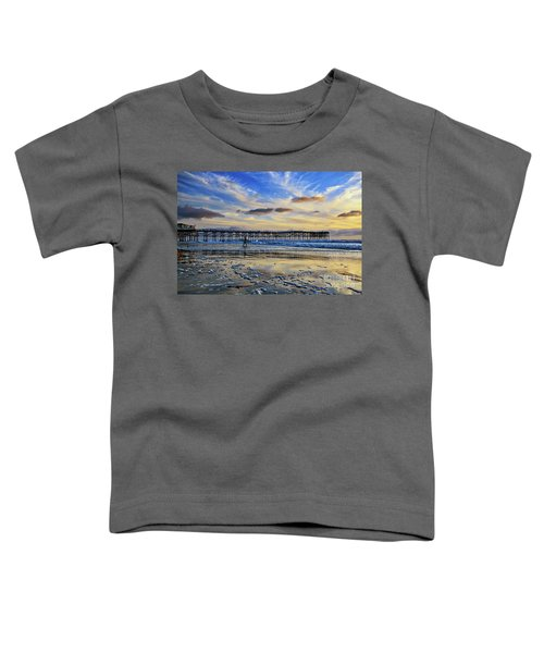 A Surfer Heads Home Under A Cloudy Sunset At Crystal Pier Toddler T-Shirt
