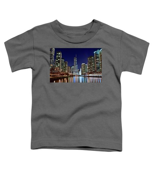 A View Down The Chicago River Toddler T-Shirt by Frozen in Time Fine Art Photography