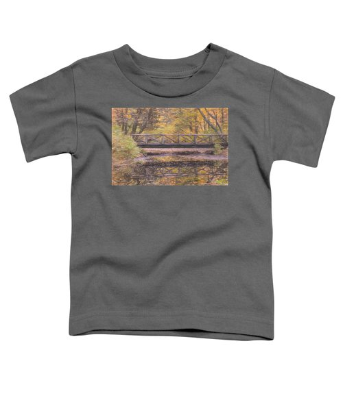 A Walking Bridge Reflection On Peaceful Flowing Water. Toddler T-Shirt