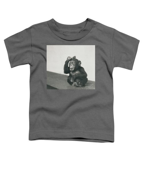 A Young Chimpanzee Playing With A Brush Toddler T-Shirt