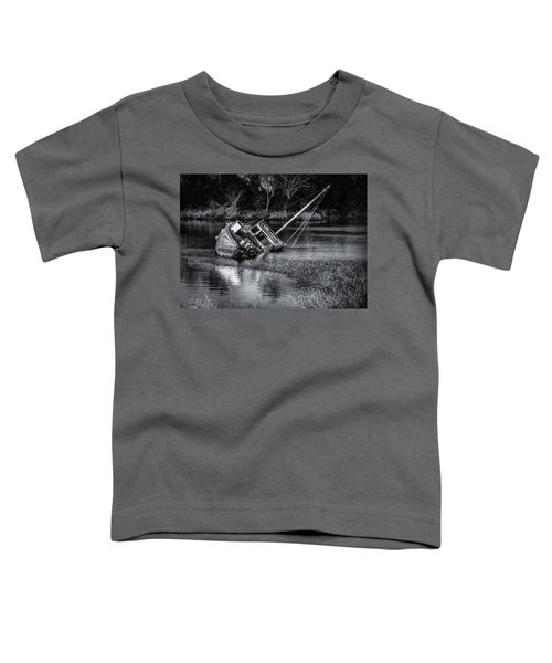 Toddler T-Shirt featuring the photograph Abandoned Ship In Monochrome by Donald Brown
