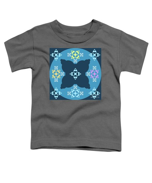 Abstract Mandala Blue, Dark Blue And Cyan Pattern For Home Decoration Toddler T-Shirt