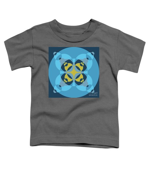 Abstract Mandala Cyan, Dark Blue And Yellow Pattern For Home Decoration Toddler T-Shirt