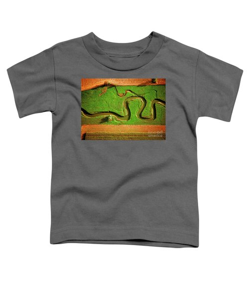 aerial, farm, stream, northern, Illinois, farms, meandering  Toddler T-Shirt