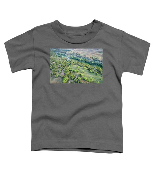 aerial view of Dismal River in Nebraska Sandhills Toddler T-Shirt