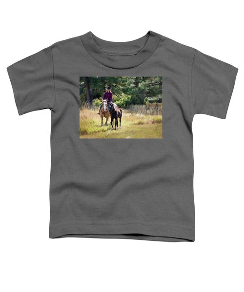 Afternoon Ride In The Sun - Cowgirl Riding Palomino Horse With Foal Toddler T-Shirt