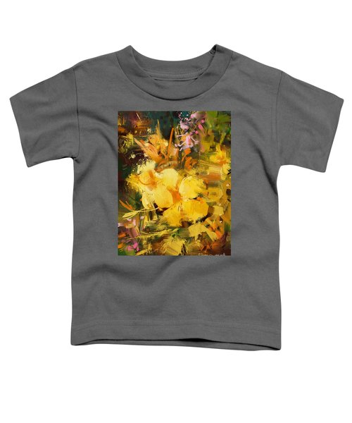 Toddler T-Shirt featuring the painting Allamanda by Tithi Luadthong