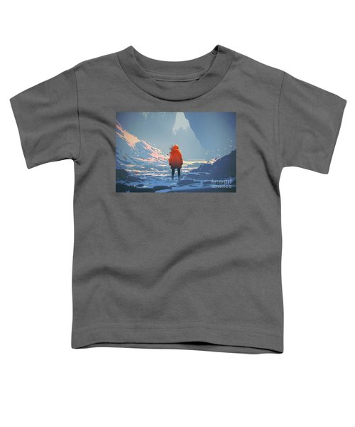 Toddler T-Shirt featuring the painting Alone In Winter by Tithi Luadthong