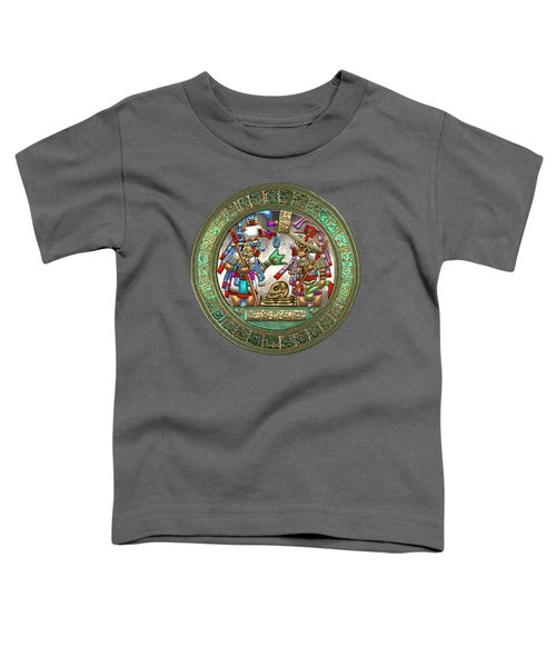 Altar 5 From Tikal - Mayan Nobles Performing A Ritual - On Brown Leather  Toddler T-Shirt