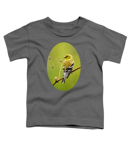 American Goldfinch In The Rain Toddler T-Shirt by Christina Rollo