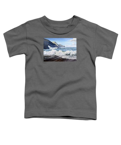Toddler T-Shirt featuring the painting An April Morning At Crackington Haven by Lawrence Dyer
