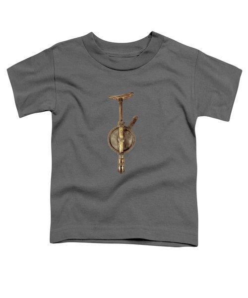 Antique Shoulder Drill Backside On Black Toddler T-Shirt