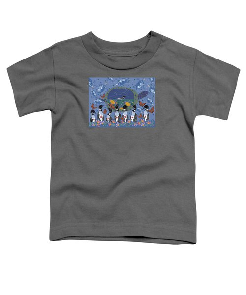 Toddler T-Shirt featuring the painting Arrival Of Wintermaker by Chholing Taha